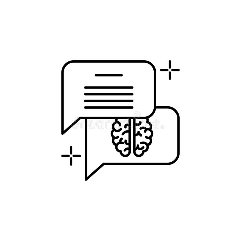 Chat dialogue brain icon. Element of brain concept stock illustration