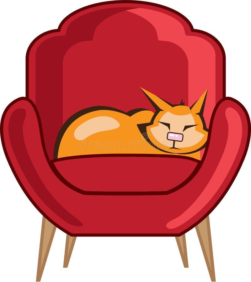 Chat dormant dans le fauteuil illustration stock