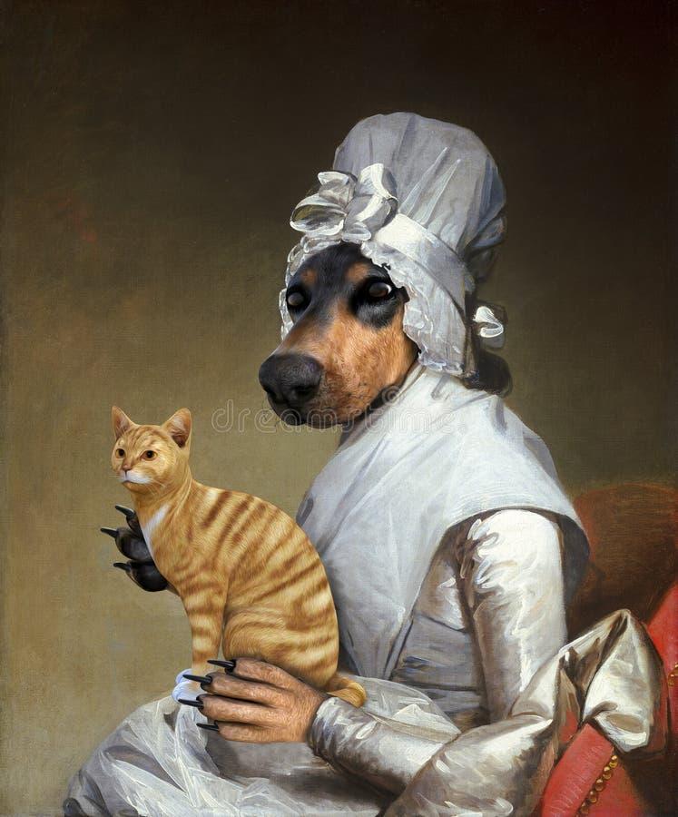 Chat drôle, chien, peinture à l'huile surréaliste illustration stock