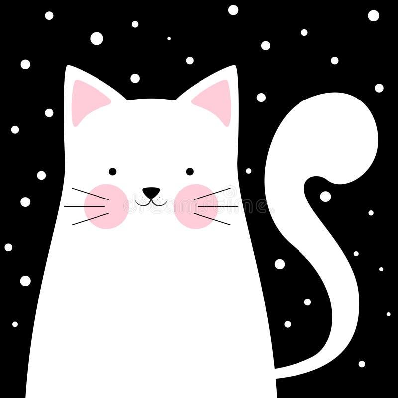 Chat drôle et mignon les 0 hivers procurables de version d'illustration de 8 ENV illustration de vecteur
