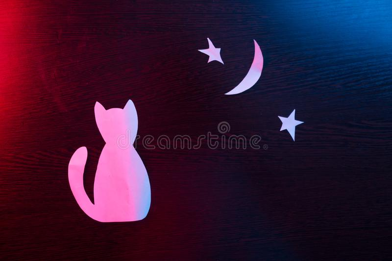 Chat en silhouette images libres de droits