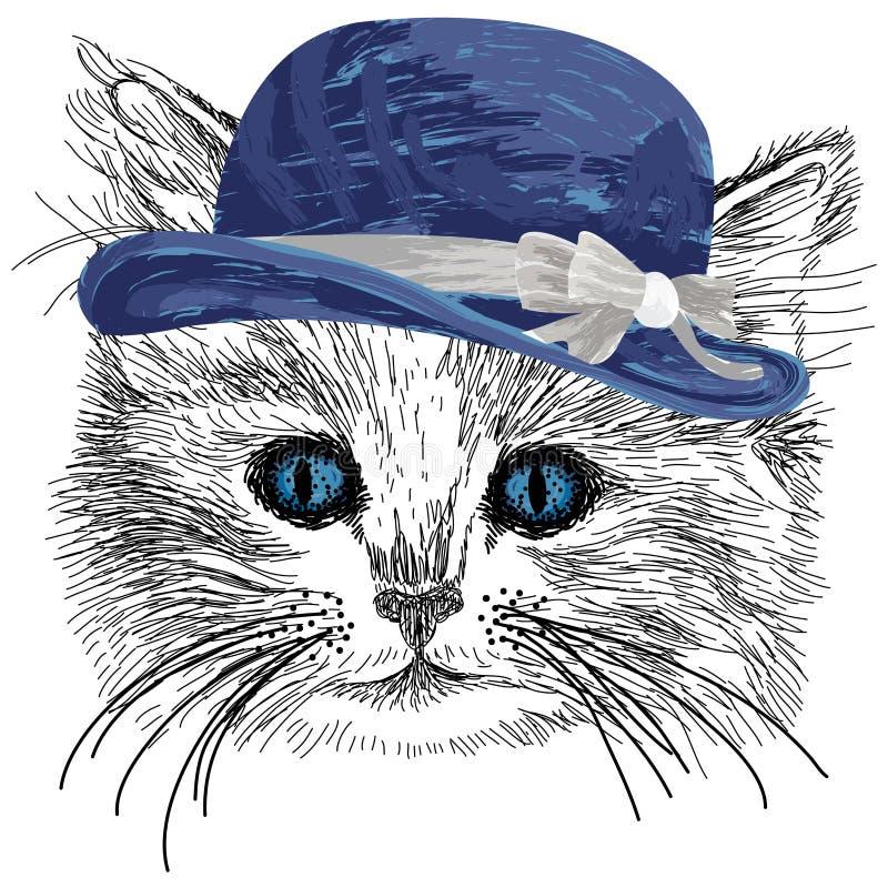 Chat esquissé avec le chapeau et le ruban bleus illustration stock