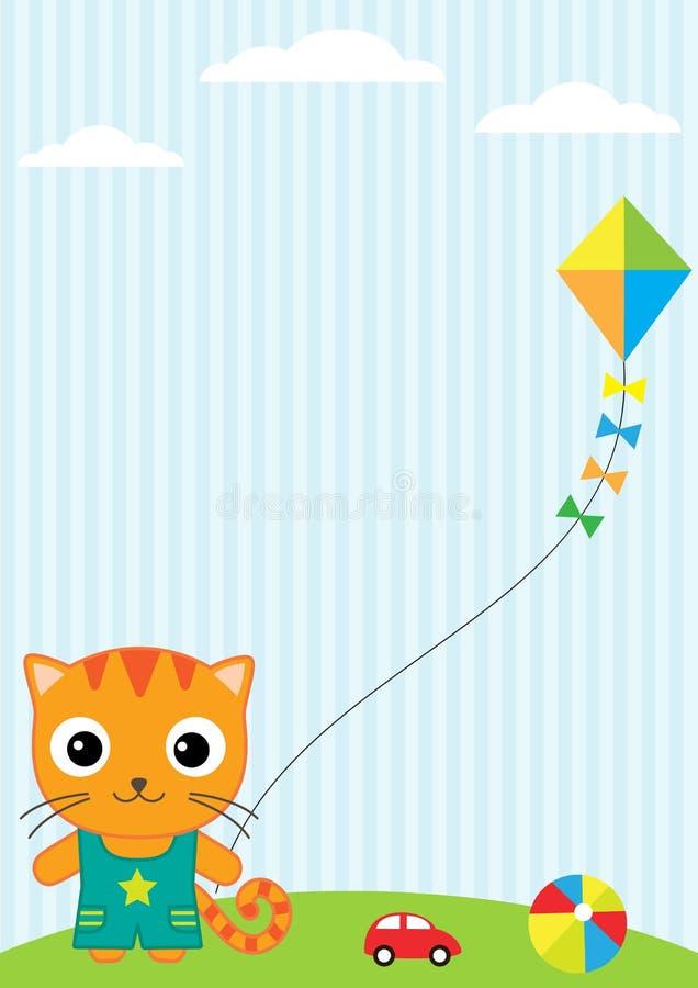 Chat et cerf-volant illustration stock