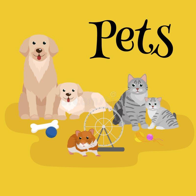 Chat et chien se trouvant ensemble illustration libre de droits