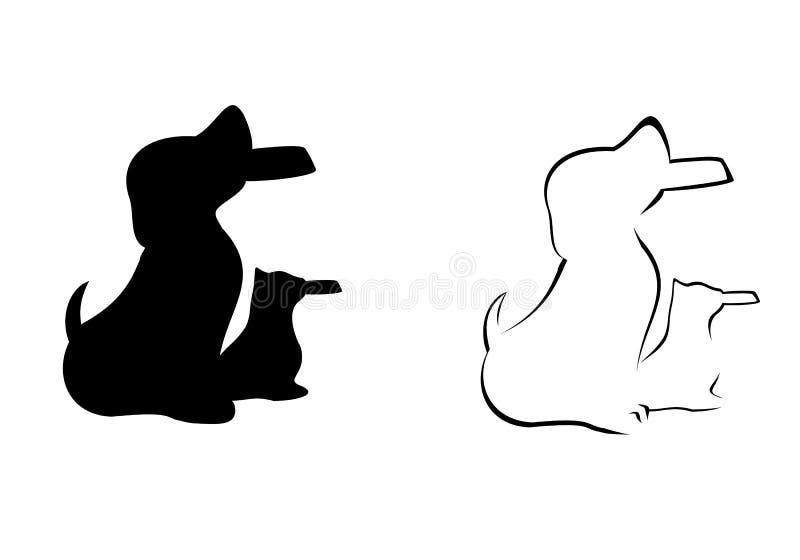 Chat et chien tenant la silhouette de cuvette illustration de vecteur