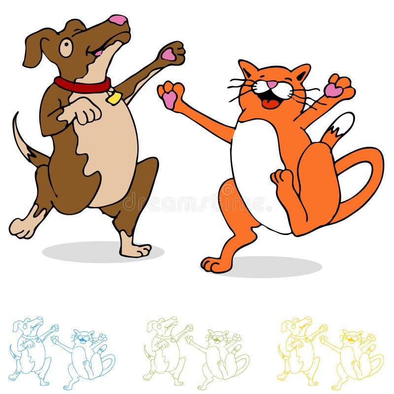 Chat et crabot de danse illustration de vecteur