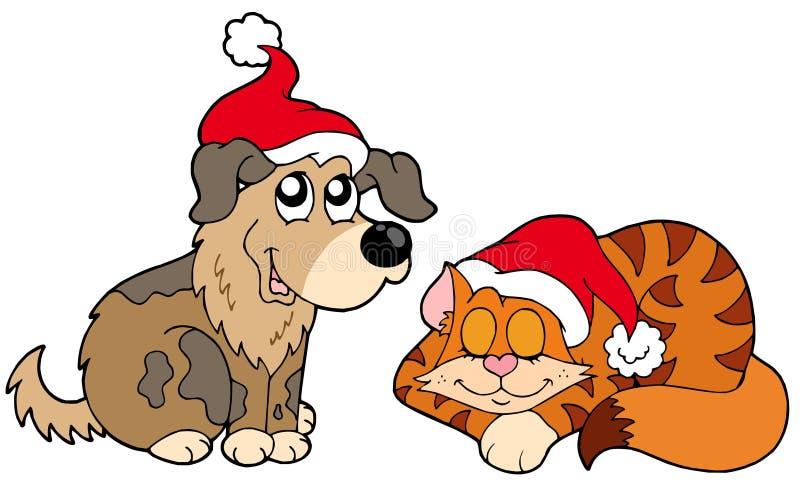Chat et crabot de Noël illustration stock