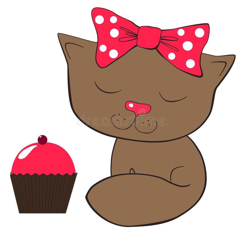 Chat et gâteau illustration de vecteur
