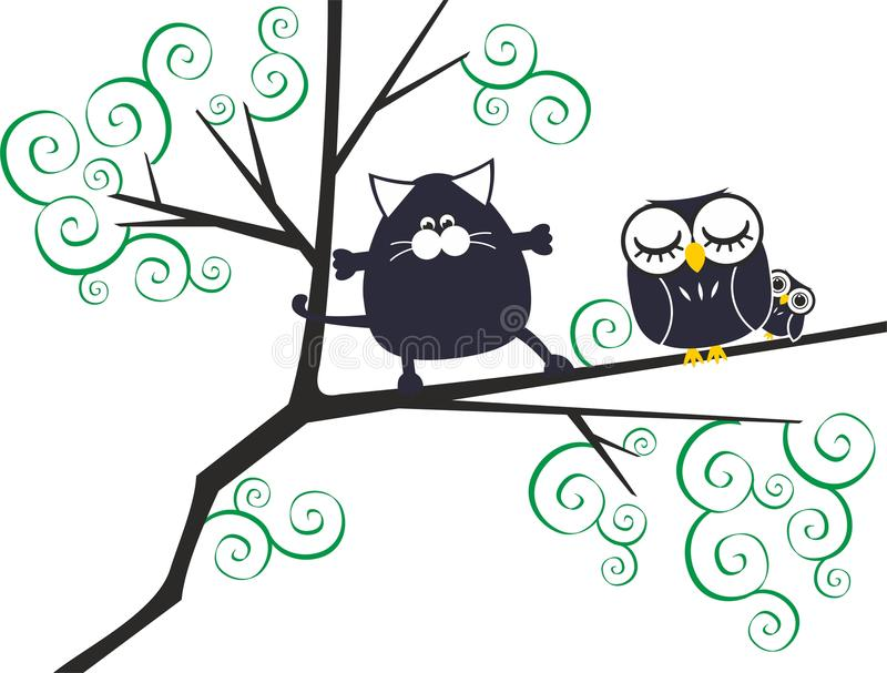 Chat et hiboux illustration de vecteur