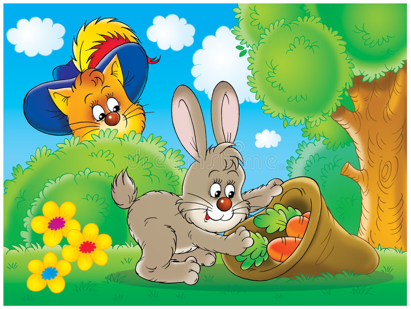 Chat et lapin illustration stock