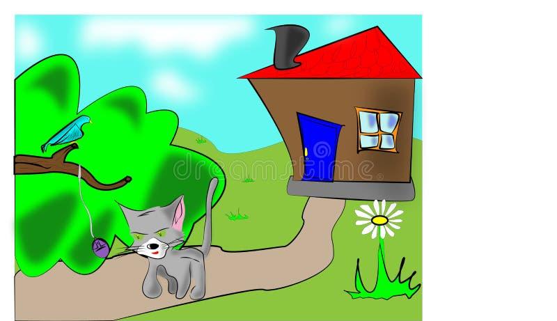 chat et oiseau photos libres de droits