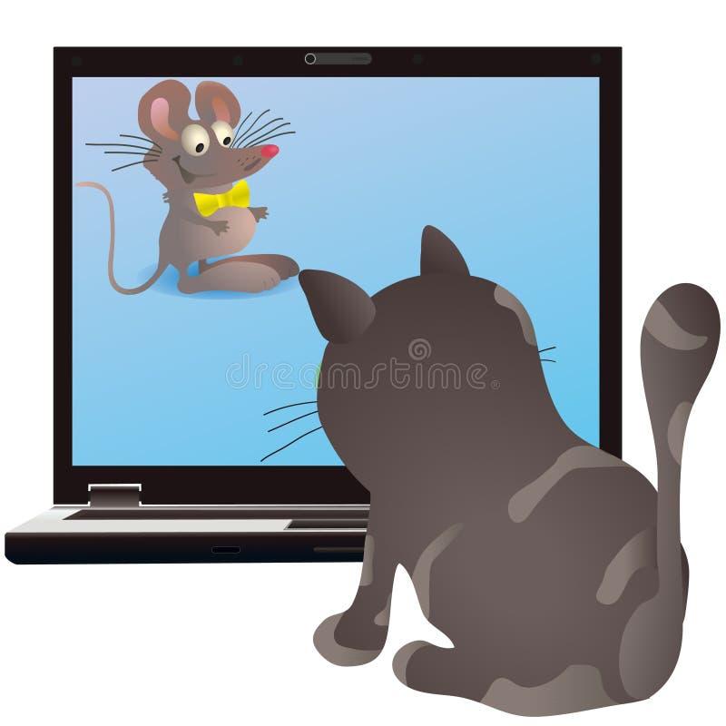 Chat et petite souris sur l'écran du cahier illustration libre de droits