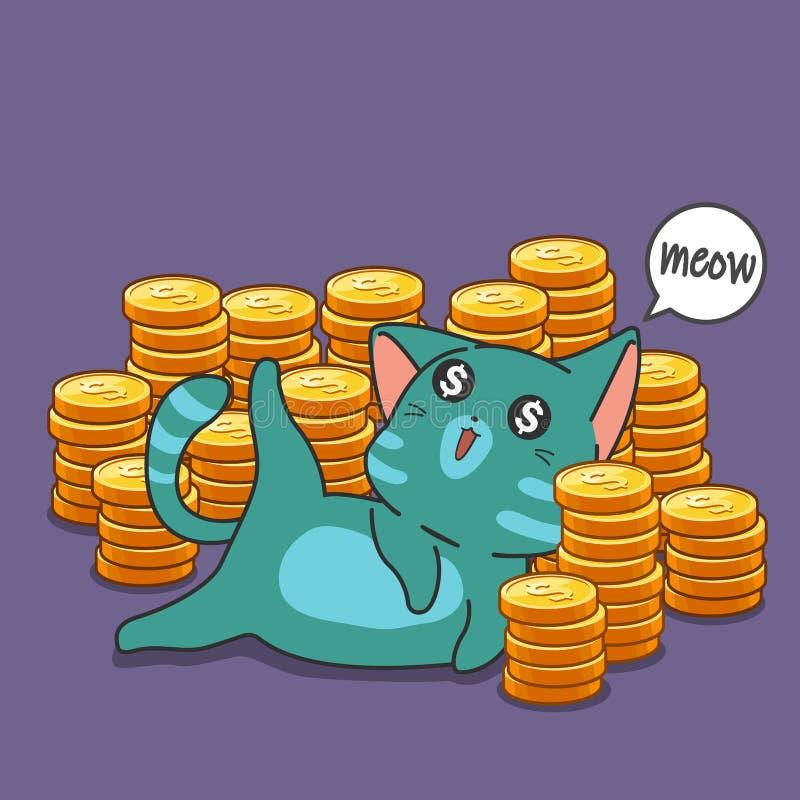 Chat et pièces de monnaie de millionnaire illustration libre de droits