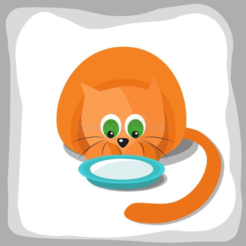 Chat et plat rouges mignons avec du lait illustration de vecteur