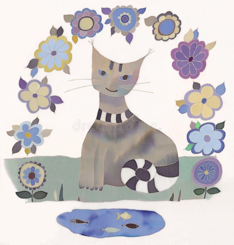 Chat et poissons illustration stock
