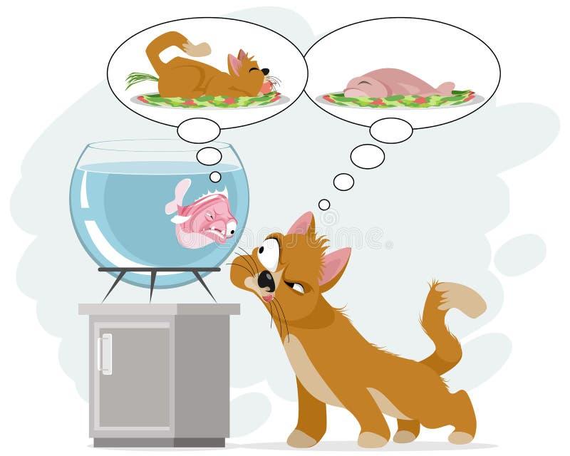 Chat et poissons dans l'aquarium illustration stock