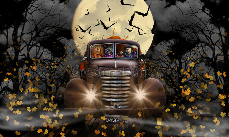 Chat et potiron de sorcière de Halloween images libres de droits