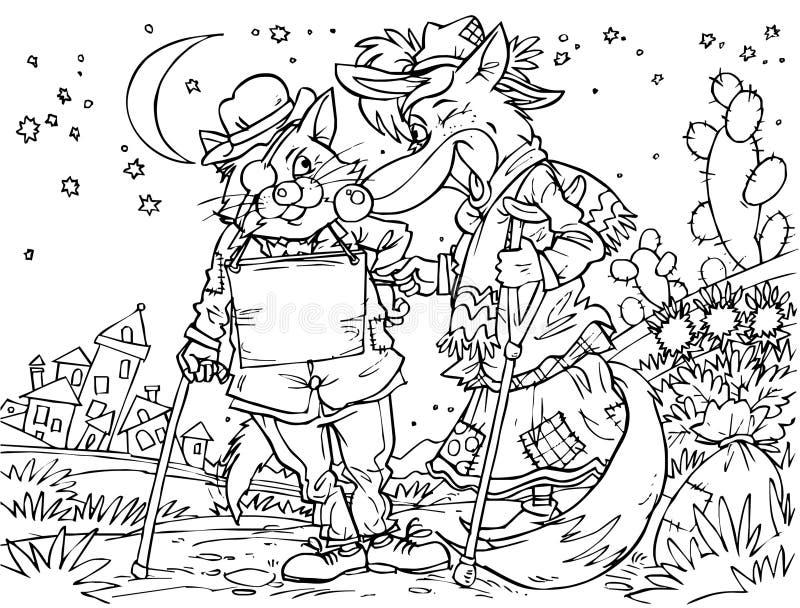 Chat et renard minables illustration stock