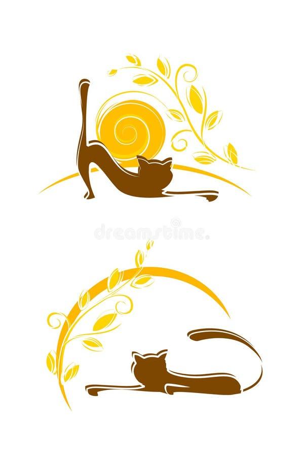 Chat et soleil illustration libre de droits