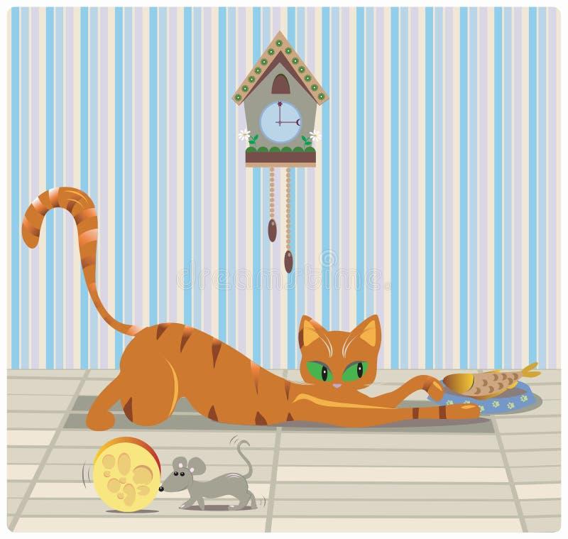 Chat et souris prenant le déjeuner illustration libre de droits