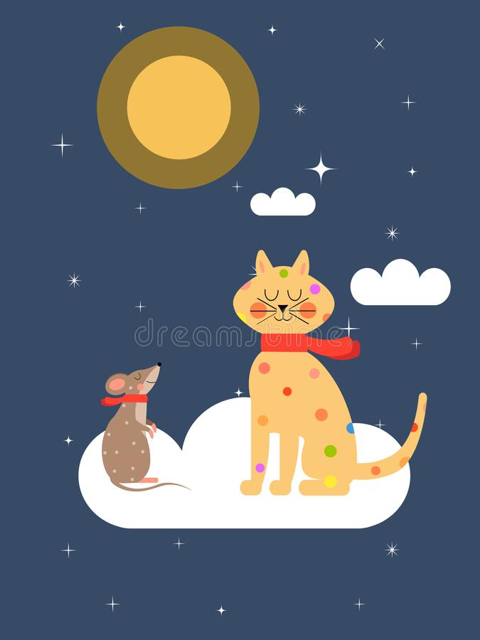 Chat et souris sur le nuage illustration stock