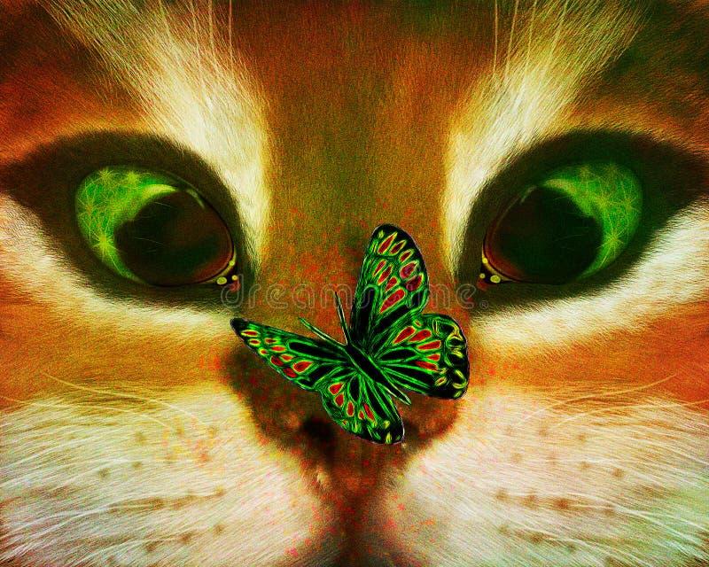 Chat et un papillon insolent illustration stock