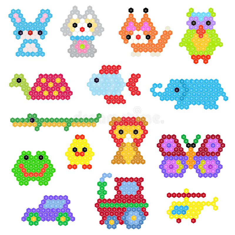 Chat et voiture abstraits animalistic de caractère de vecteur animal de mosaïque dans l'ensemble puéril d'illustration de jeu d'e illustration de vecteur