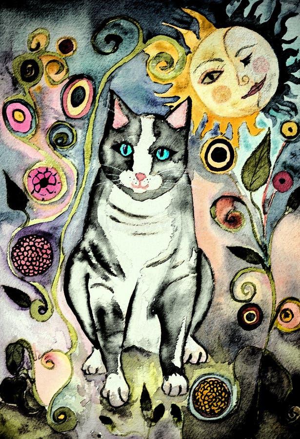 Chat gris d'art populaire pendant la nuit illustration stock