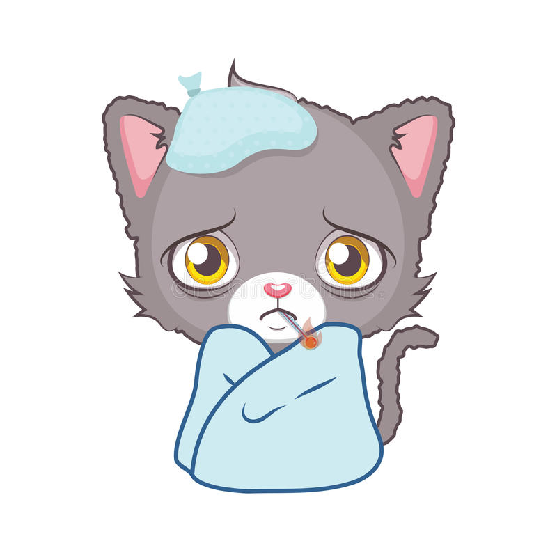 Chat gris mignon se sentant malade illustration stock