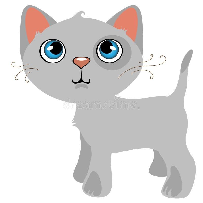 Chat gris songeur avec des yeux bleus, animal familier de bande dessinée illustration de vecteur