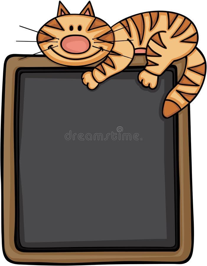 Chat heureux avec le fond de tableau noir illustration stock