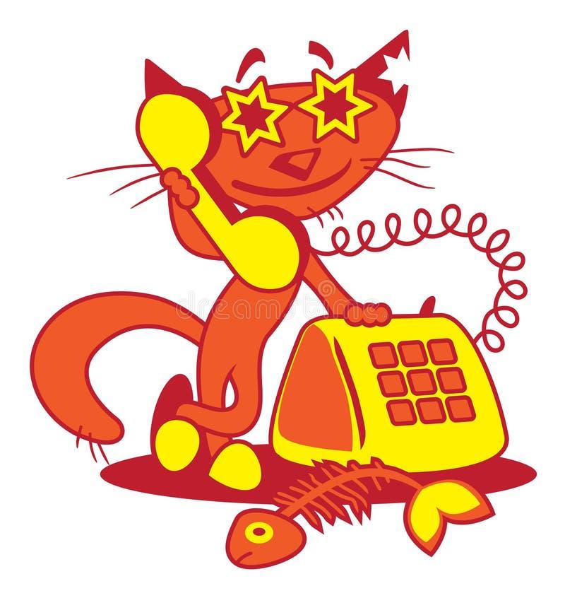 Chat heureux de téléphone illustration stock