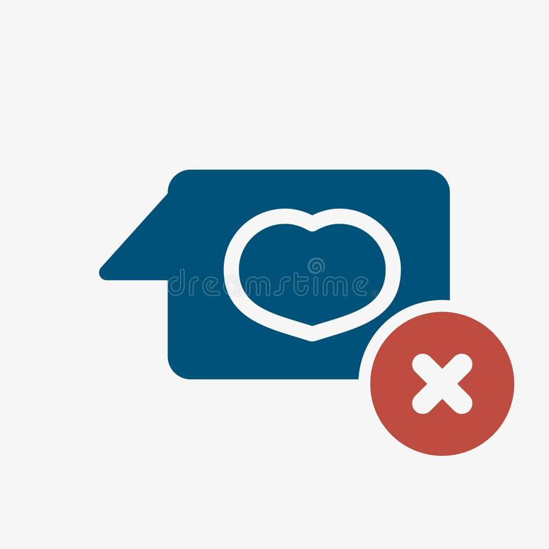 Chat icon, multimedia icon with cancel sign. Chat icon and close, delete, remove symbol. Vector illustration vector illustration