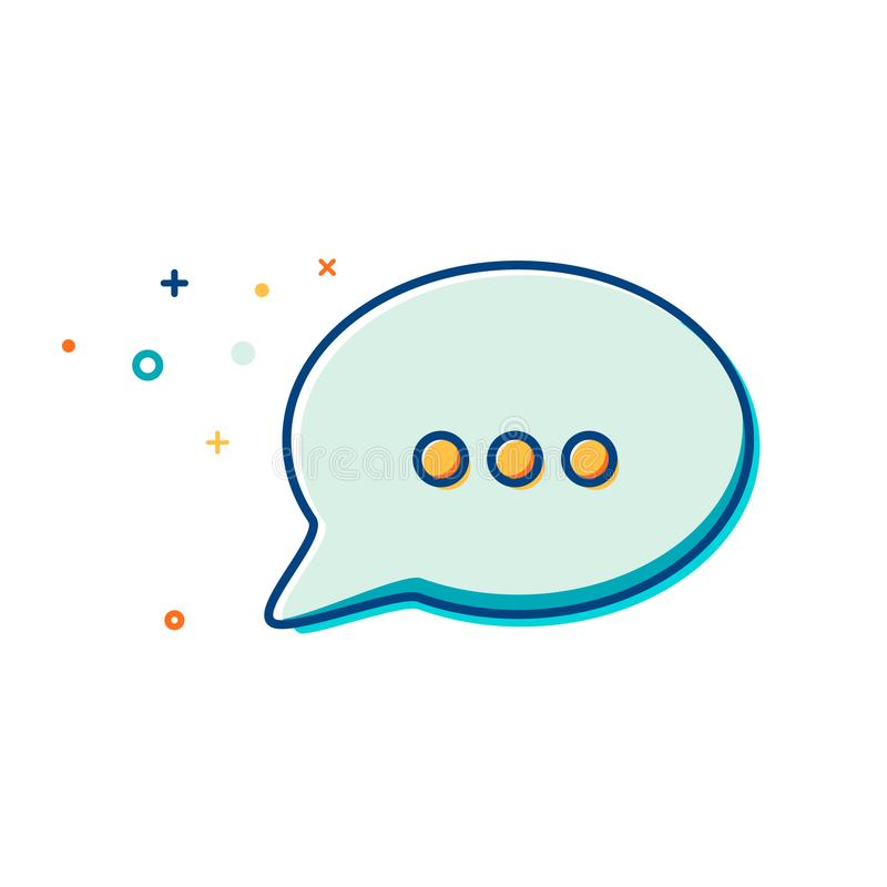 Chat Icon in trendy style - thin line flat design. Speech bubble symbol for your web site design, logo, app, UI. Vector illustrati royalty free illustration