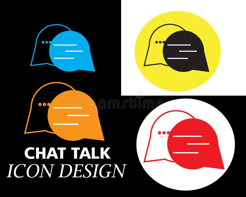 chat talk bubble message with four colors style art stock illustration