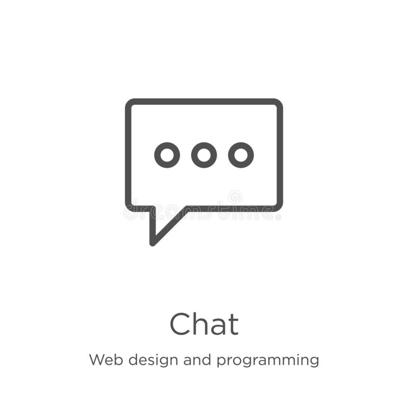 Chat icon vector from web design and programming collection. Thin line chat outline icon vector illustration. Outline, thin line. Chat icon. Element of web vector illustration