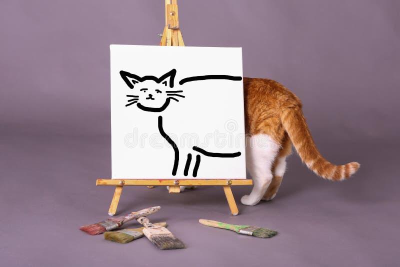 Chat illustré sur la vraie position de chat de toile blanche derrière la toile avec la queue collant  photographie stock