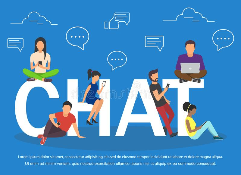 Chat illustration of young people using mobile gadgets .Flat big letters chat and guys. And women standing near stock illustration