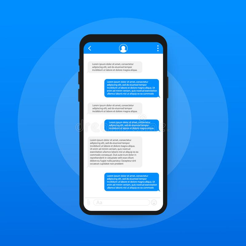 Chat Interface Application with Dialogue window. Clean Mobile UI Design Concept. Sms Messenger. Vector illustration. Chat Interface Application with Dialogue royalty free illustration