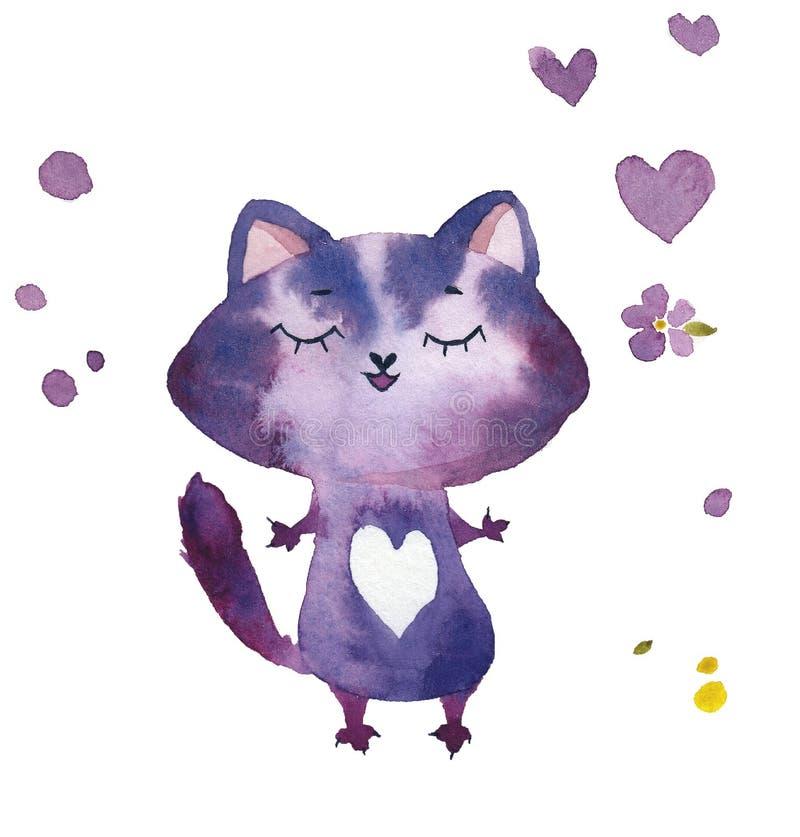 Chat lilas de bande dessinée tirée par la main d'aquarelle avec des coeurs et des fleurs illustration libre de droits