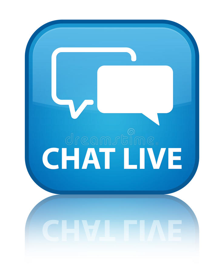 Chat live special cyan blue square button vector illustration