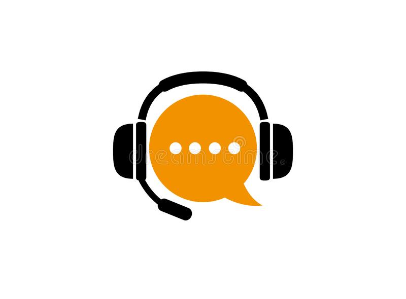 Chat symbol and headphone with microphone for customer services help for logo design illustration. Communication icon, dialog symbol stock illustration