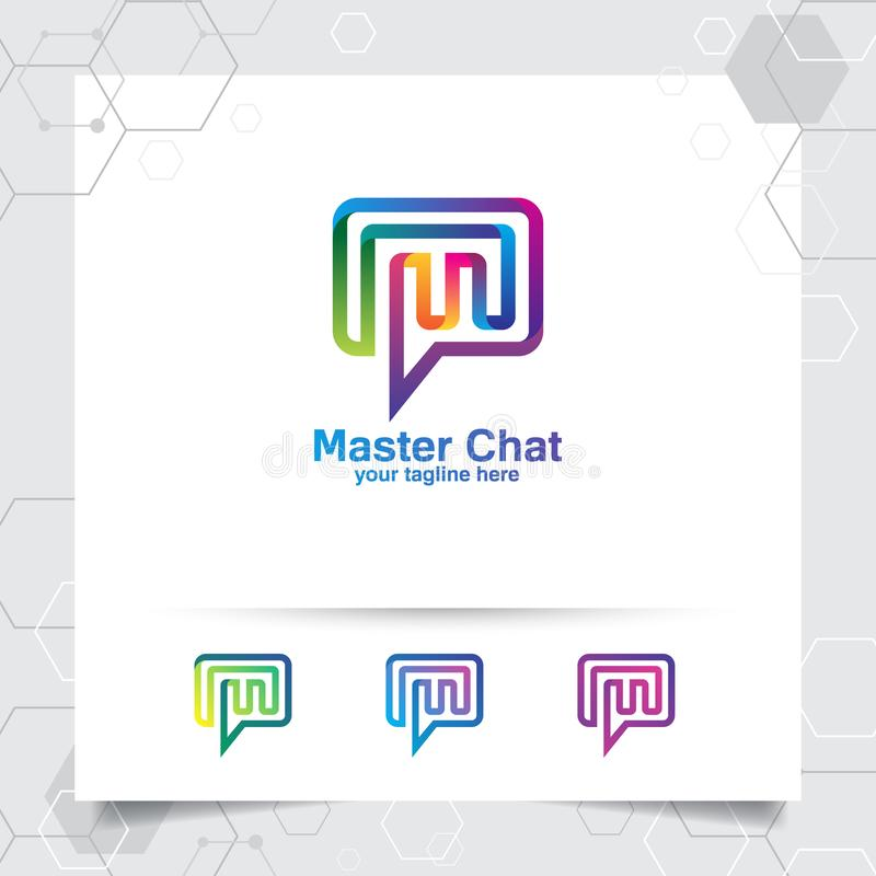 Chat logo design vector concept of letter m and colorful style. Media chat logo vector for app, communication and community.  stock illustration