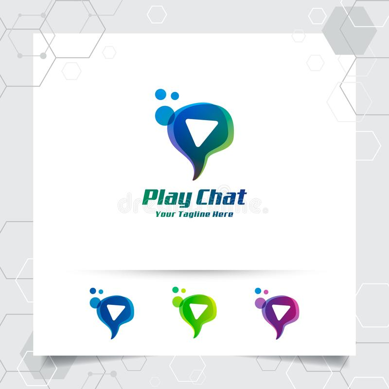 Chat logo design vector concept of speech bubble and play button . Media chat logo vector for app, communication and community.  royalty free illustration