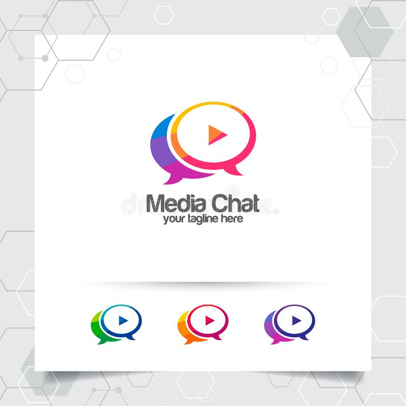 Chat logo design vector concept of speech bubble and play button . Media chat logo vector for app, communication and community.  vector illustration