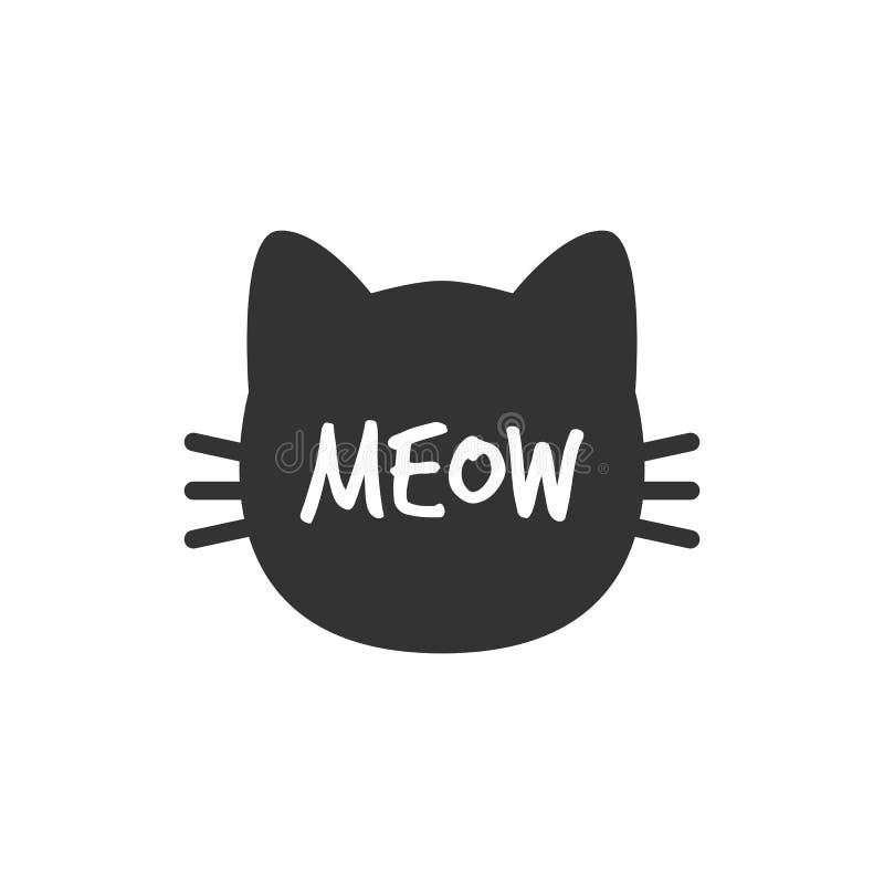 Chat meow Silhouette principale de chat D'isolement Chat noir Vecteur illustration stock