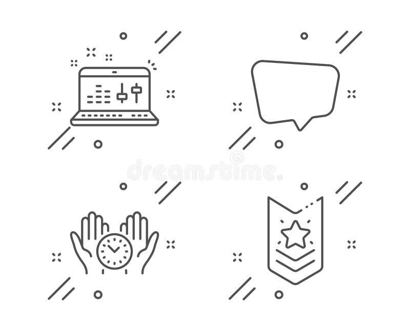 Chat message, Safe time and Sound check icons set. Shoulder strap sign. Vector. Chat message, Safe time and Sound check line icons set. Shoulder strap sign vector illustration