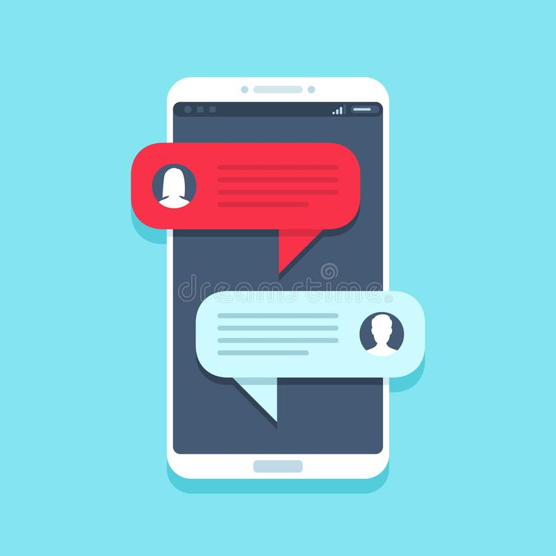 Chat message on smartphone. Mobile phone chatting, people texting messages and sms bubble on phones screen vector flat vector illustration