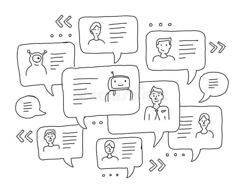 Chat messages internet communication. Sketch freehand drawing. Windows with messages. Messenger, correspondence royalty free illustration