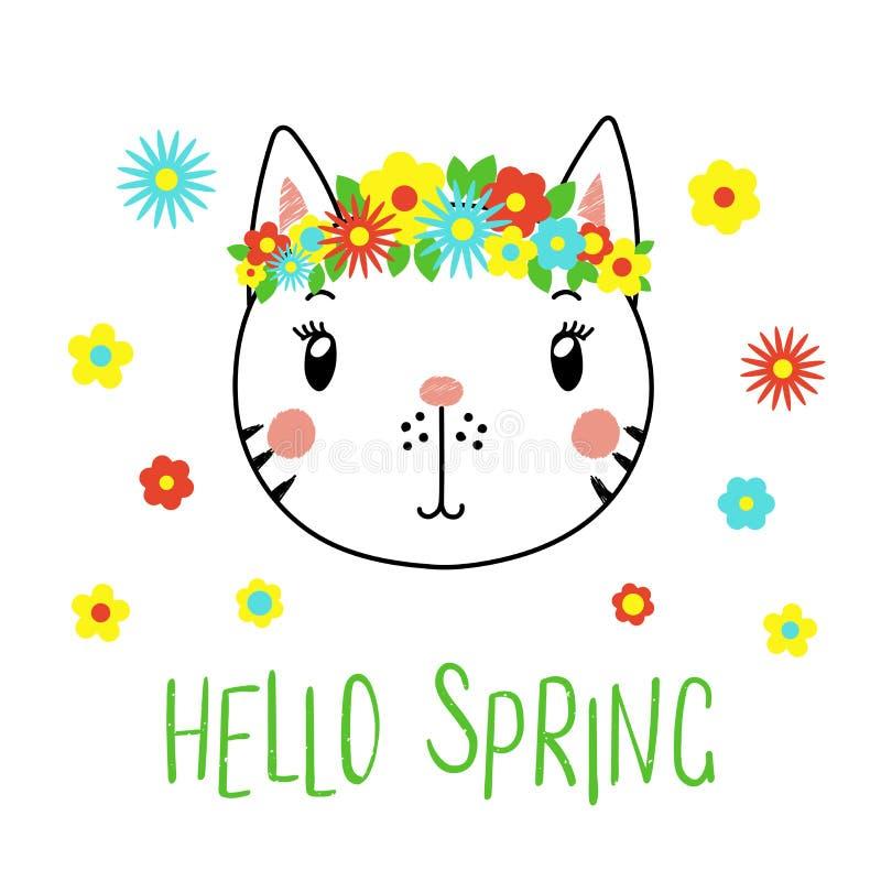 Chat mignon avec des fleurs illustration libre de droits